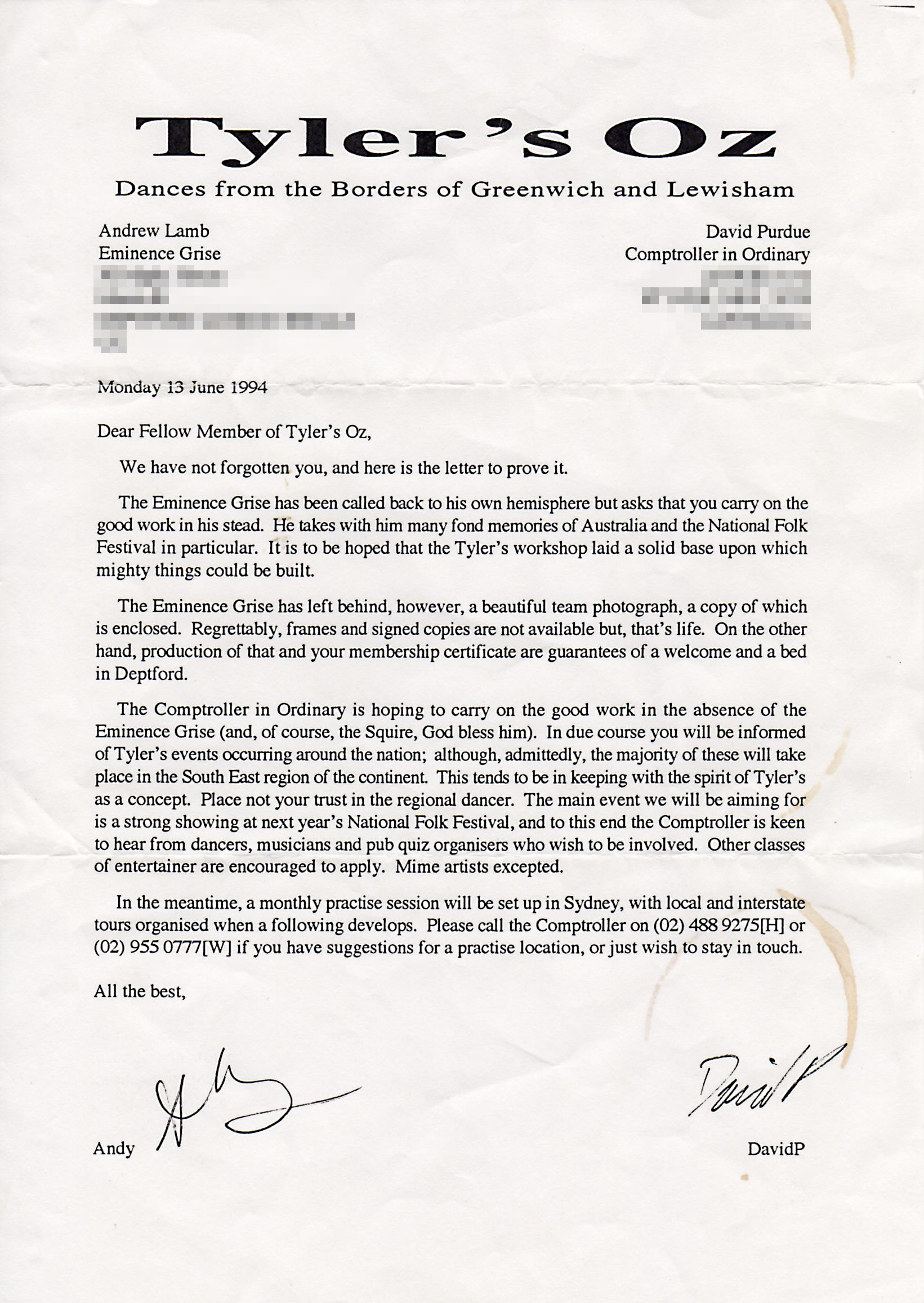 Tyler's Oz Letter to Members, 13 June 1994
